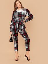 Load image into Gallery viewer, TWO PIECE SET Plus Plaid 2 In 1 Peplum Top and Skinny Pants Set - EK CHIC