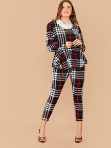 TWO PIECE SET Plus Plaid 2 In 1 Peplum Top and Skinny Pants Set - EK CHIC