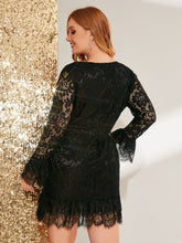 Load image into Gallery viewer, DRESS Plus Bell Sleeve Ruffle Hem Lace Dress Without Belt - EK CHIC