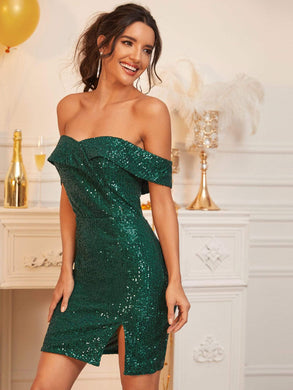 DRESSES Green Foldover Bardot Sequin Dress - EK CHIC