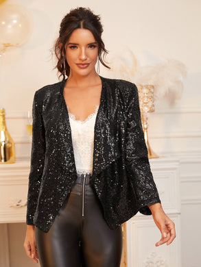 DRESSES Waterfall Collar Sequin Blazer - EK CHIC