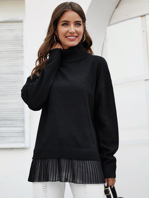 SWEATER Turtle Neck Drop Shoulder Pleated Hem Sweater - EK CHIC