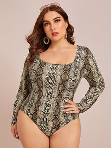 TOPS Plus Snakeskin Print Bodysuit - EK CHIC