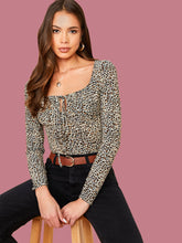 Load image into Gallery viewer, BODYSUIT Tie Neck Leopard Bodysuit - EK CHIC