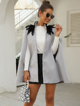 Load image into Gallery viewer, BLAZER/CAPE Contrast Feather Tweed Cape Coat - EK CHIC