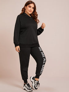 TWO PIECE SET Plus Slogan Graphic Raglan Sleeve Hoodie & Sweatpants Set - EK CHIC