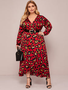 DRESS Plus Leopard Print Wrap A-line Dress - EK CHIC