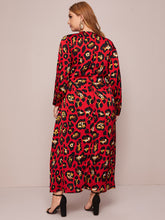 Load image into Gallery viewer, DRESS Plus Leopard Print Wrap A-line Dress - EK CHIC