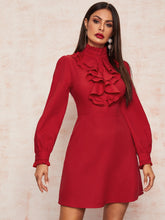 Load image into Gallery viewer, DRESS  Frilled Neck Bishop Sleeve Ruffle Trim Dress - EK CHIC