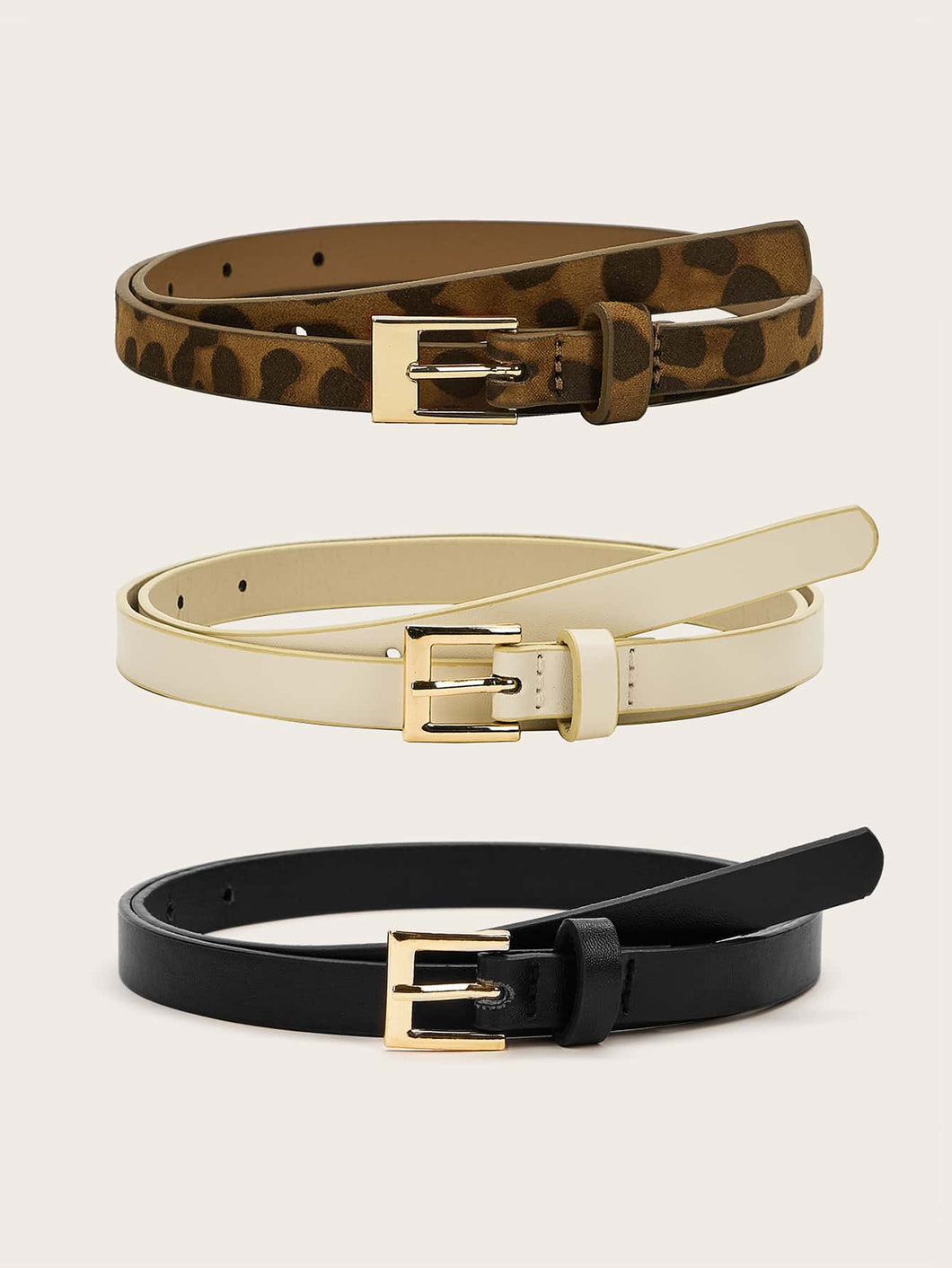 BELTS 3pcs Leopard Pattern Skinny Buckle Belt - EK CHIC