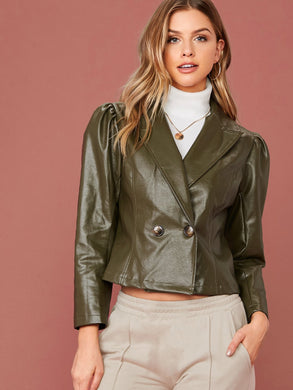 JUMPSUIT Peak Collar Gigot Sleeve Double Breasted Faux Leather Blazer - EK CHIC