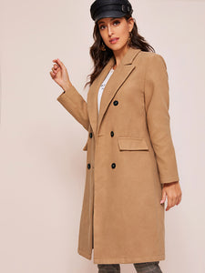 COAT Notched Collar Solid Pea Coat - EK CHIC