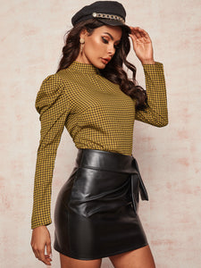 TOPS Houndstooth Pattern Puff Sleeve Blouse - EK CHIC