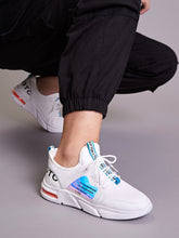 Load image into Gallery viewer, SNEAKERS Letter Graphic Holographic Lace-up Sneakers - EK CHIC