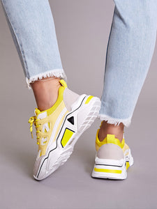 WOMEN SNEAKERS Lace-up Front Chunky Sneakers - EK CHIC