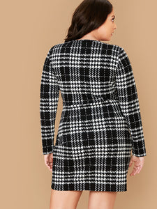 DRESS Plus Plaid Wrap Dress - EK CHIC