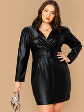 Load image into Gallery viewer, DRESS  Plus Surplice Wrap Belted Faux Leather Dress - EK CHIC