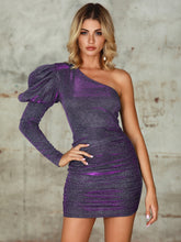 Load image into Gallery viewer, DRESS Double Crazy One Shoulder Gigot Sleeve Glitter Dress - EK CHIC