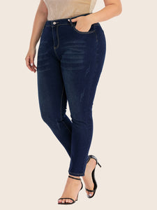 JEANS Plus Cat Whiskers Ripped Skinny Jeans - EK CHIC