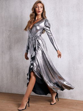 DRESS Plunge Neck Ruffle Trim Wrap Belted Metallic Dress - EK CHIC