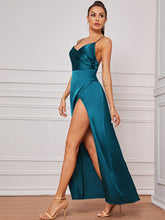 Load image into Gallery viewer, DRESS Crisscross Backless Satin Wrap Cami Dress - EK CHIC
