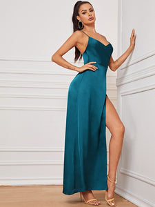 DRESS Crisscross Backless Satin Wrap Cami Dress - EK CHIC