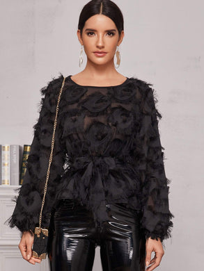 TOPS Black Frayed Detail Belted Sheer Blouse - EK CHIC