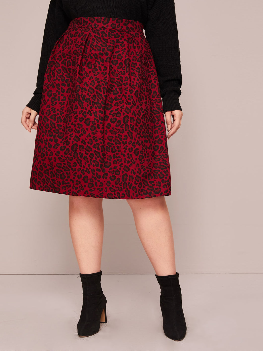 SKIRT Plus Allover Leopard Print Skirt - EK CHIC