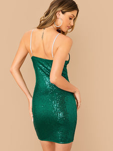DRESS Rhinestone Strap Sequin Bustier Dress - EK CHIC