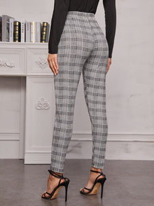 PANTS High Waist Plaid Skinny Leggings - EK CHIC