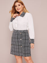 Load image into Gallery viewer, TWO PIECE SET Plus Button Through Contrast Tweed Blouse With Skirt - EK CHIC