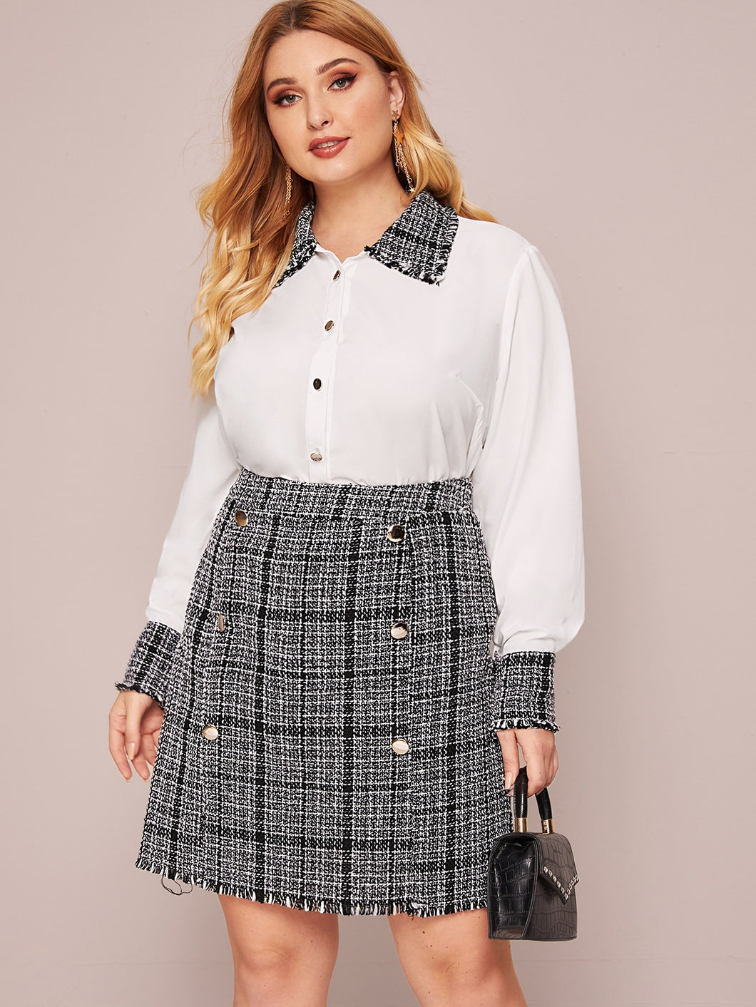 TWO PIECE SET Plus Button Through Contrast Tweed Blouse With Skirt - EK CHIC