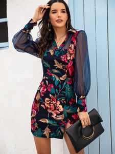 DRESS Floral Print Contrast Mesh Split Hem Dress - EK CHIC