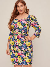 Load image into Gallery viewer, DRESS Plus Sweetheart Neck Floral Print Dress - EK CHIC