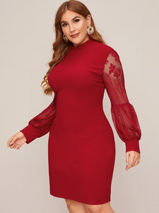 DRESS Plus Mock-Neck Lace Lantern Sleeve Dress - EK CHIC