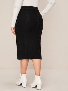 SKIRT Plus Cable Knit Textured Sweater Skirt - EK CHIC