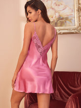 Load image into Gallery viewer, LINGERIE Lace Trim Satin Cami Night Dress - EK CHIC