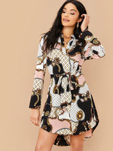 Load image into Gallery viewer, DRESS Chain Print Curved Hem Belted Dress - EK CHIC