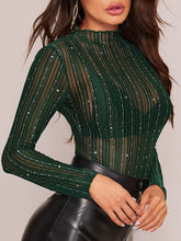 Load image into Gallery viewer, TOPS Silver Thread Detail Sheer Star Mesh Top Without Bra - EK CHIC