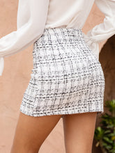Load image into Gallery viewer, MINI SKIRT Pearls Button Front Tweed Mini Skirt - EK CHIC