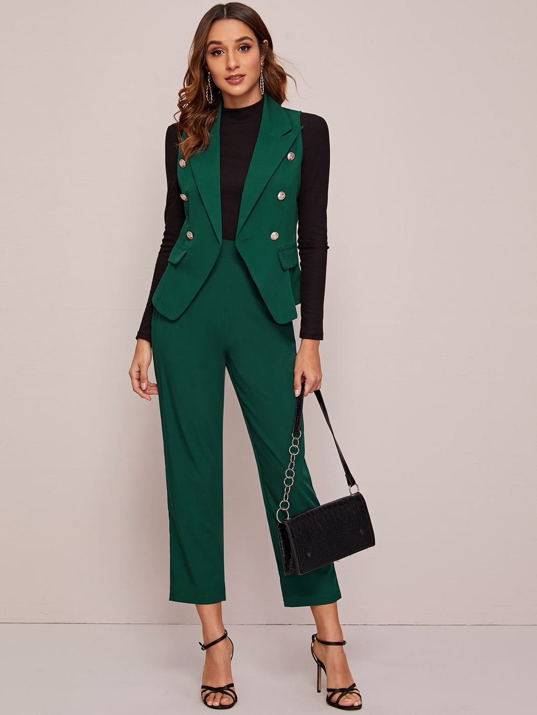 TWO PIECE SET Double Breasted Vest Blazer & Tailored Pants - EK CHIC