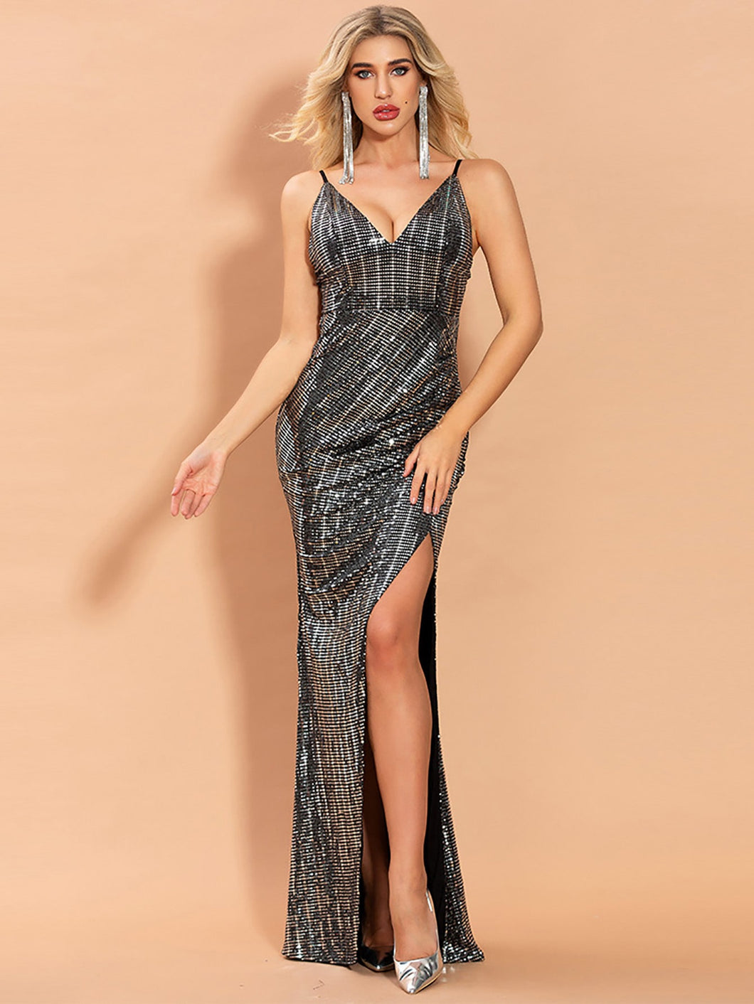 DRESS Plunging Neck Split Thigh Sequin Prom Dress - EK CHIC