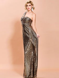 DRESS One Shoulder Draped Detail Sequin Prom Dress - EK CHIC