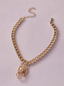 JEWELRY 1pc Lion Head Chain Necklace - EK CHIC