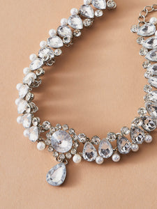 NECKLACE 1pc Rhinestone Engraved Faux Pearl Decor Necklace - EK CHIC
