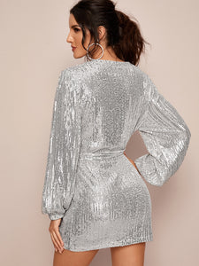 DRESS Plunge Neck Sequins Belted Wrap Dress - EK CHIC