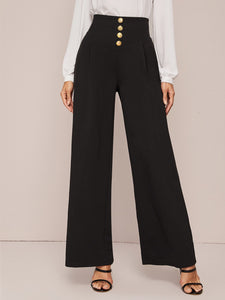 PANTS Gold Button Front Wide Waistband Palazzo Pants - EK CHIC