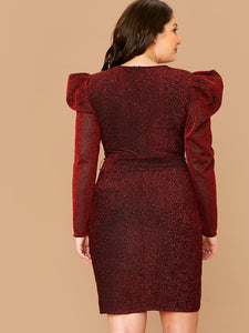 DRESS Plus Leg-of-mutton Sleeve Belted Wrap Glitter Dress - EK CHIC