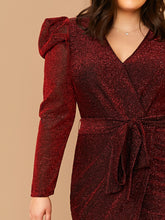 Load image into Gallery viewer, DRESS Plus Leg-of-mutton Sleeve Belted Wrap Glitter Dress - EK CHIC