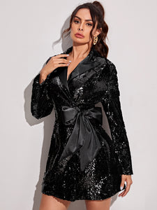 DRESS Knot Side Lapel Collar Sequin Dress - EK CHIC